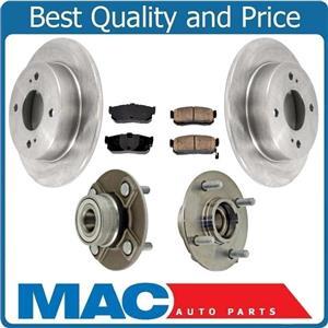 100% New Rear Rotors Hub Bearings Brake Pads for Nissan Altima 1993-2000 w/o ABS