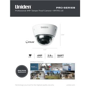 4MP Pro Series 4.0-Megapixel IP Security Fixed Dome Camera 100' Night Vision