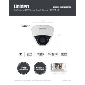 1080p Pro Series 2-Megapixel IP Security Varifocal Dome Camera 100' Night Vision