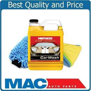 Mothers California Gold Car Wash Soap 32 OZ Washing Mitt & 3 Microfiber Towels