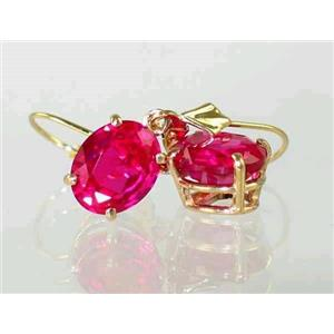 E107, Created Ruby, 14k Gold Earrings