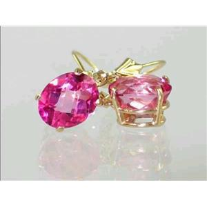 E107, Pure Pink Topaz, 14k Gold Earrings