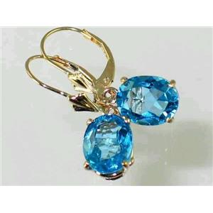 E107, Swiss Blue Topaz, 14k Gold Earrings