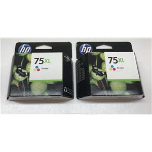 Lot of 2 HP 75XL Tri-color Inkjet Print Cartridge CB338WN