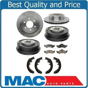 00-02 Durango (2) Front & (2) Rr Rotors & Drums Brake Ceramic Pads & Brake Shoes