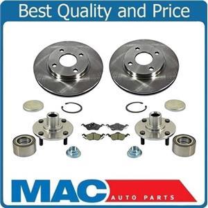 00-04 Focus (2) Front Brake Rotors Ceramic Pads (2) Hub Wheel Bearing Assemblys
