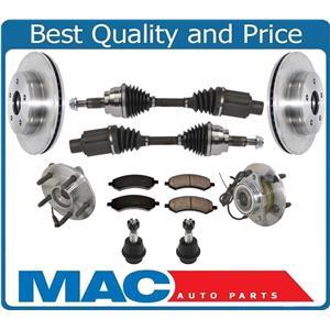 Wheel Hub Bearing Assembly W CV Drive Shafts for 4x4 Ram 1500 09-11 Pick Up 9pc