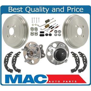 Rear Drums Brake Shoes Spring Hardware & ABS Hub Bearings for Toyota Yaris 06-15