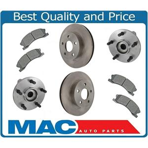 Front Rotors Pads Wheel Bearings For Grand Cherokee 99-04 With AKEBONO CALIPERS