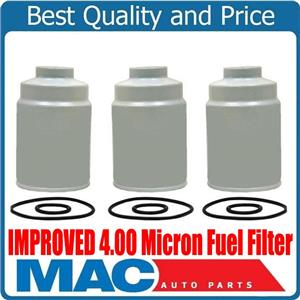 10-16 Silverado GM 6.6L Turbo Diesel IMPROVED 4.00 Micron Fuel Filter (3)