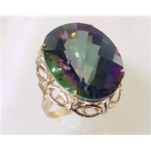 R068, Mystic Fire Topaz, Gold Ring
