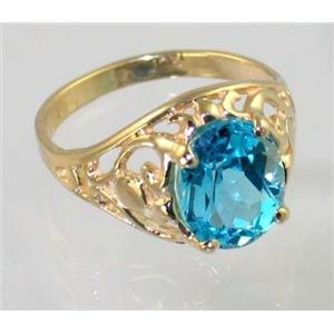R004, Swiss Blue Topaz, Gold Ring