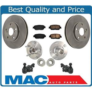 New Brake Rotors Pads Ball Joint Wheel Hub Bearings for Toyota Camry LE 02-03 7p