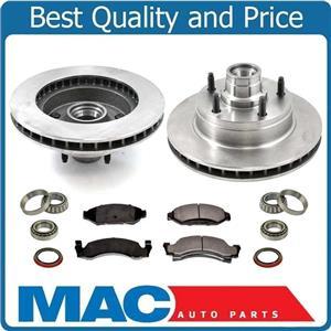 100% New Front Brake Rotors & Pads W/ Bearings 9pc Kit for Ford Van E150 87-93