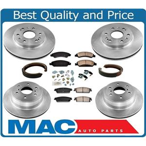 New Front & Rear Rotors Brake Pads Shoes Spring Kit for Chevrolet Tahoe 09-14