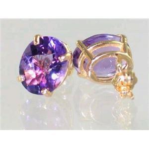 E102, Amethyst, 14k Gold Earrings