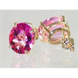 E102, Pure Pink Topaz, 14k Gold Earrings