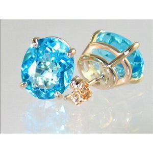 E102, Swiss Blue Topaz, 14k Gold Earrings