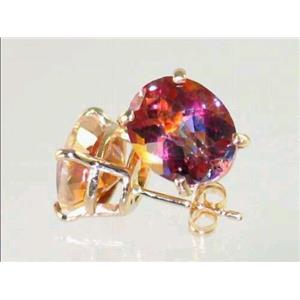 E102, Twilight Fire Topaz, 14k Gold Earrings