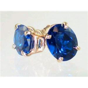 E102, Created Blue Sapphire, 14k Gold Earrings