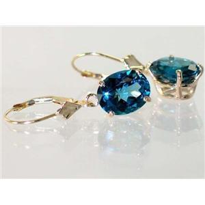 E107, London Blue Topaz, 14k Gold Earrings