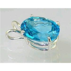 SP004, Swiss Blue Topaz, 925 Sterling Silver Pendant