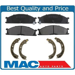 Front Brake Pads Rear Shoes For 98-02 Nissan Frontier 2.4L 4 Wheel Drive & 3.3L