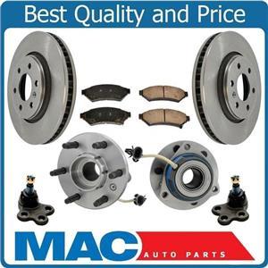 New Front Wheel Bearing Hub Disc Brake Rotors Pads for Chevrolet Uplander 06-09