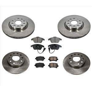 Fit For 09-17 Volkswagen 2.0L Passat CC 2.0L Disc Brake Rotors & Ceramic Pads 6p