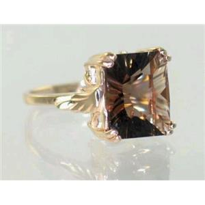 R188, Smoky Quartz (Quantum Cut), Gold Ring