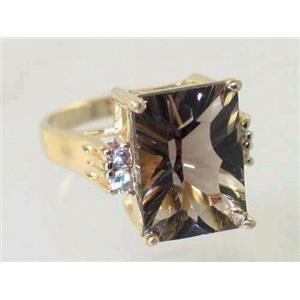 R201, Smoky Quartz (Quantum Cut), Gold Ring