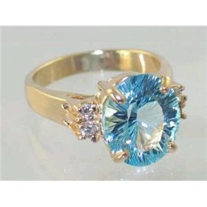 R244, Quantum Cut Sky Blue Topaz, Gold Ring