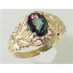 R113, Mystic Fire Topaz, Gold Ring