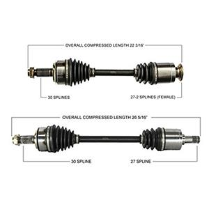 Fits For Honda CR-V 07-11 Front Driver and Passenger Side CV Drive Axle Shafts