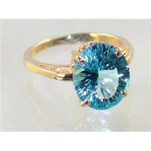 R055, Quantum Sky Blue Topaz, Gold Ring