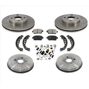 Front Brake Rotors & Ceramic Brake Pads Drums Shoes 7PCs Kit 04-06 Scion Xa Xb