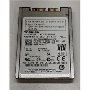 "Dell K20TD MK1633GSGF 1.8"" uSATA 160GB 5400 Toshiba Laptop HDD Latitude E6400"