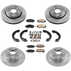 Disc Rotors Ceramic Brake Pads Parking Shoes Spring Kit for Jeep Wrangler 07-17