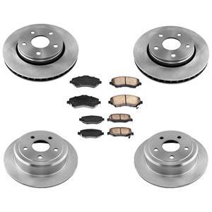 Front & Rear Rotors Ceramic Brake Pads for Jeep Wrangler 2007-2016 6pc Kit