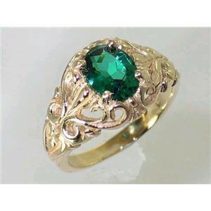 R113, Russian Nanocrystal Emerald, Gold Ring