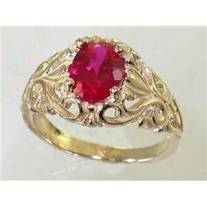 R113, Created Ruby, Gold Ring