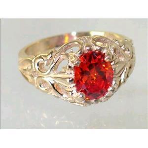 R113, Created Padparasha Sapphire, Gold Ring