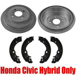 Rear Brake Drums & Brake Shoes 3Pc for Honda Civic Hybrid 2003-2005 Models ONLY