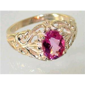 R113, Pure Pink Topaz, Gold Ring