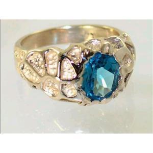 R168, Swiss Blue Topaz, Men's Gold Ring