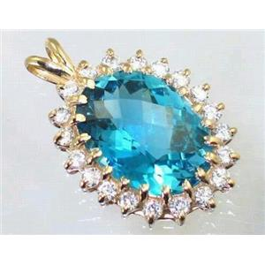 P270, Swiss Blue Topaz 14K Gold Pendant