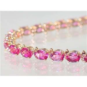 B001, Pure Pink Topaz Gold Bracelet