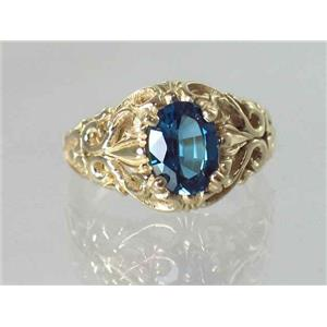 R113, London Blue Topaz, Gold Ring