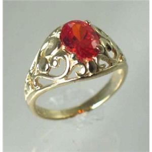 R111, Created Padparasha Sapphire, Gold Ring