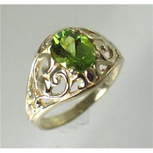 R111, Genuine Peridot, Gold Ring